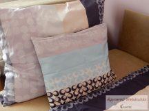 Pamut szatén lila-szürke mintás ágyneműhuzat garnitúra kétoldalas