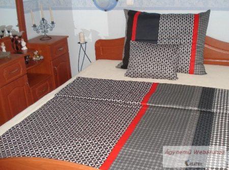 Pamut szatén sötét-szürke piros csíkos ágynemű