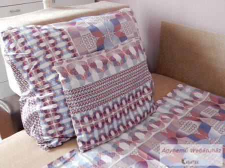 Pamut szatén kék-barna mintás ágyneműhuzat garnitúra