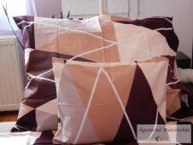 Pamut szatén barna háromszög mintás ágyneműhuzat garnitúra