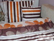Pamut szatén barna mintás kétoldalas ágyneműhuzat garnitúra