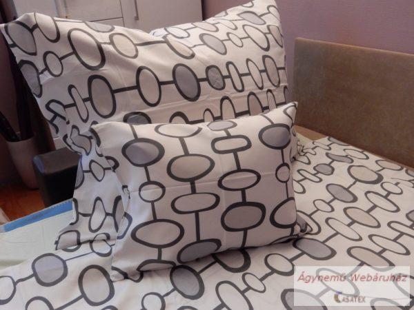 Pamut szatén szürke kör mintás ágyneműhuzat garnitúra