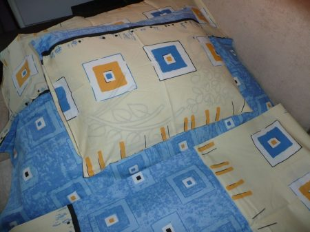 Pamut ágynemű garnitúra  kék kockás