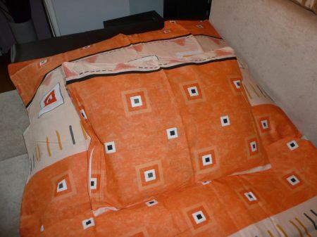 Pamut ágynemű garnitúra narancs kockás