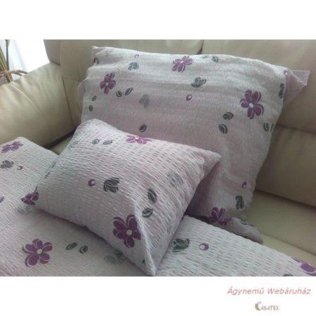 Krepp ágynemű garnitúra rózsaszín-lila virágos