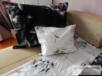 Pamut szatén fekete-fehér virágos ágyneműhuzat garnitúra
