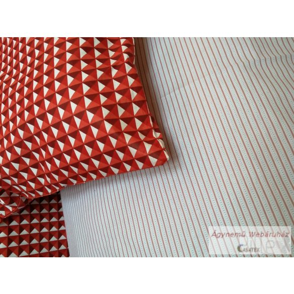Pamut vászon ágyneműhuzat garnitúra piros geo