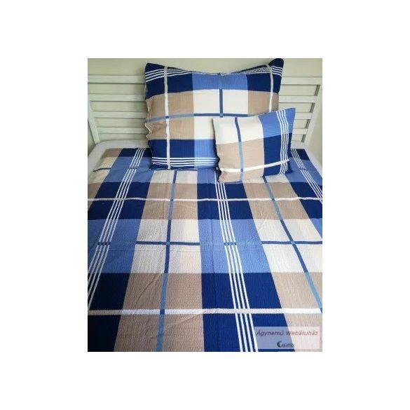 Krepp ágynemű garnitúra kék-barna geo