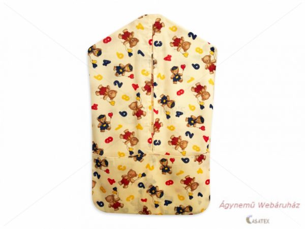 Óvodai vállfás ruhazsák macis sárga