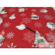 Pamut vászon ágyneműhuzat karácsonyi pirosalapon manós