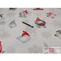 Pamut vászon ágyneműhuzat karácsonyi fehéralapon manós