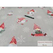 Pamut vászon ágyneműhuzat karácsonyi szürke alapon manós