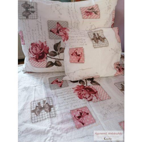 Krepp ágynemű garnitúra rózsás lepkés