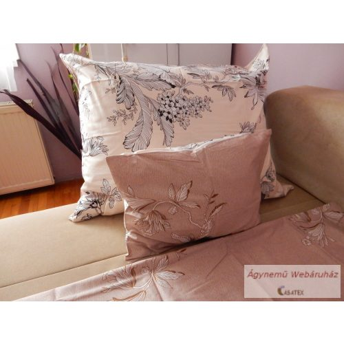 Pamut szatén kétoldalas barna virágos ágyneműhuzat garnitúra